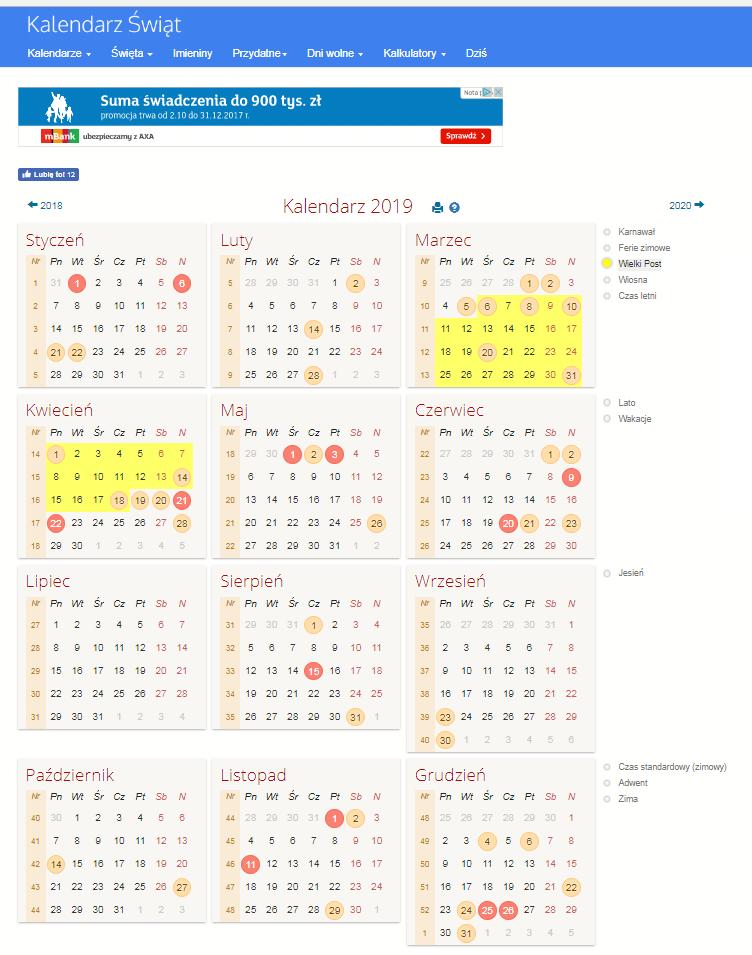 Kalendarz do planowania wydazreń